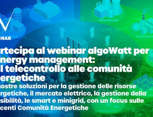 Webinar algoWatt per l'energy management: dal telecontrollo alle comunità energetiche