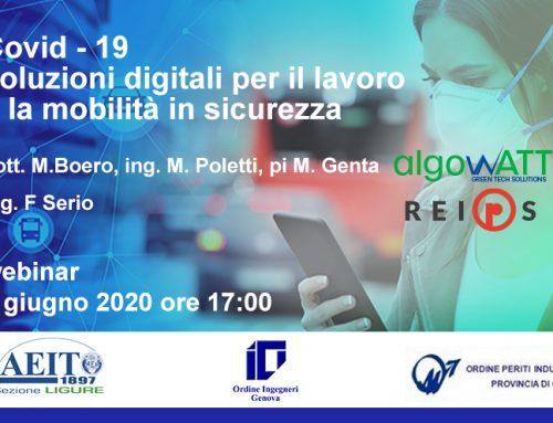 algoWatt al seminario AEIT su Covid-19 e soluzioni digitali per la sicurezza sul lavoro e nella mobilità