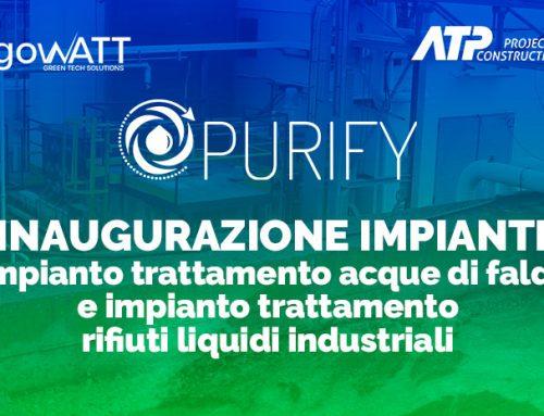 Entrata in esercizio dell'impianto di bonifica acque di falda e di trattamento rifiuti liquidi industriali Purify