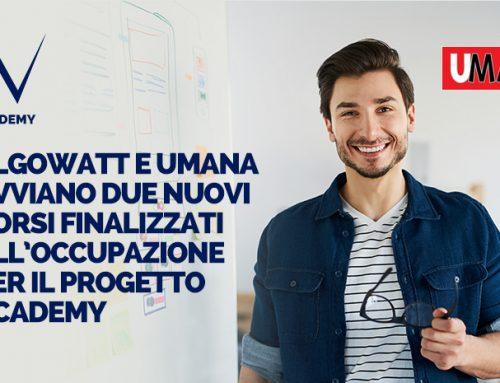 algoWatt e Umana avviano due nuovi corsi finalizzati all'occupazione per il progetto Academy