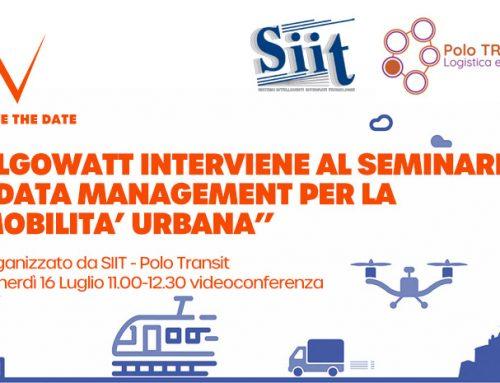 """algoWatt interviene al seminario """"Data management per la mobilità urbana"""""""