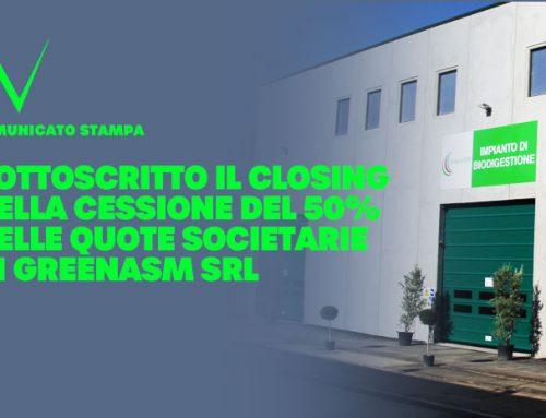 Sottoscritto il closing della cessione del 50% delle quote societarie di GreenASM Srl